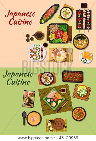 Japanese cuisine icon of sushi, sashimi, grilled beef with vegetables, seafood skewers, fried shrimps and chicken liver, chicken and prawn cream soups, beef noodles, seafood and tofu soups, tea