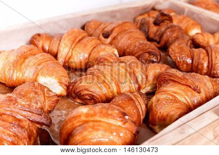 Pastries And Bread In A Bakery. Sweet Pastry, Croissants With Chocolate And Jam Filling