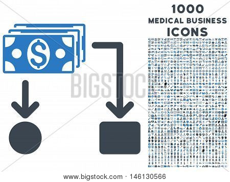 Cashflow raster bicolor icon with 1000 medical business icons. Set style is flat pictograms, smooth blue colors, white background.