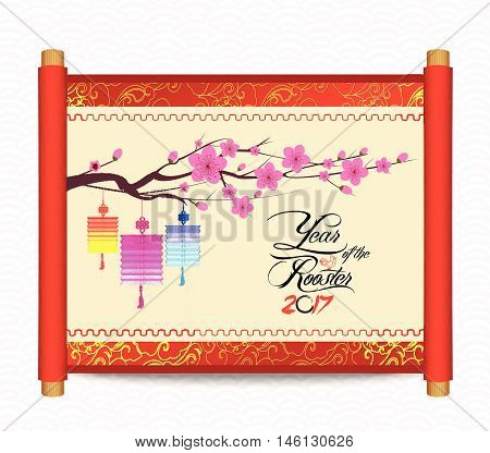 Chinese new year with blossom and lantern. Traditional Chinese handscroll of painting