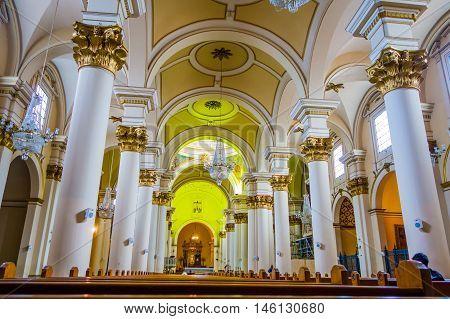 BOGOTA, COLOMBIA - FEBRUARY 9, 2015: Primary Cathedral of Bogota, historic and reliigous landmark, located in Bolivar Square