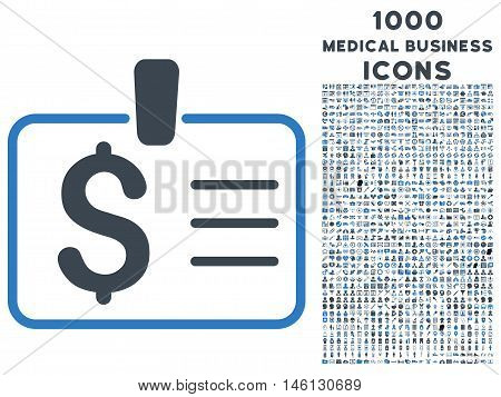 Dollar Badge raster bicolor icon with 1000 medical business icons. Set style is flat pictograms, smooth blue colors, white background.