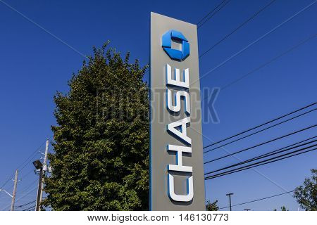Indianapolis - Circa September 2016: Chase Bank Sign. Chase is the U.S. Consumer and Commercial Banking Business of JPMorgan Chase IV