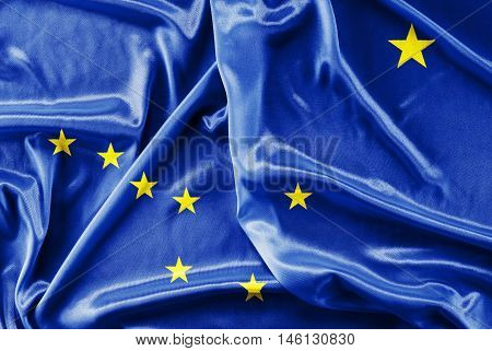 Flag of Alaska waving - fabric background, wallpapers, close-up