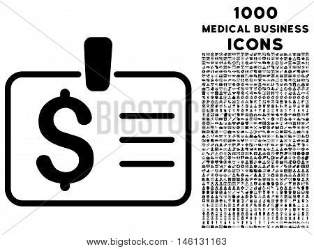Dollar Badge raster icon with 1000 medical business icons. Set style is flat pictograms, black color, white background.