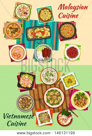 Vietnamese and malaysian cuisine icon with seafood and vegetable salads, fried rice with shrimps, beef noodles, grilled meat skewers, crispy meat snacks, beef mushroom and seafood soups, eggplant stew
