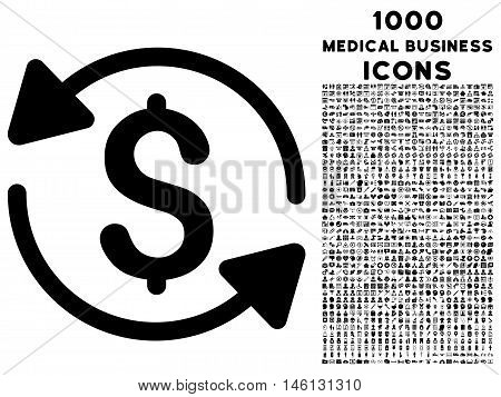 Money Turnover raster icon with 1000 medical business icons. Set style is flat pictograms, black color, white background.