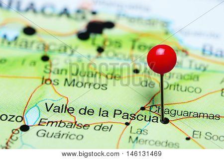 Valle de la Pascua pinned on a map of Venezuela