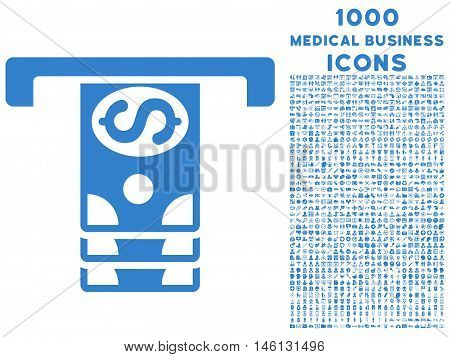 Banknotes Withdraw raster icon with 1000 medical business icons. Set style is flat pictograms, cobalt color, white background.