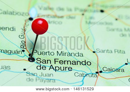 San Fernando de Apure pinned on a map of Venezuela