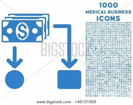 Cashflow raster icon with 1000 medical business icons. Set style is flat pictograms, cobalt color, white background.