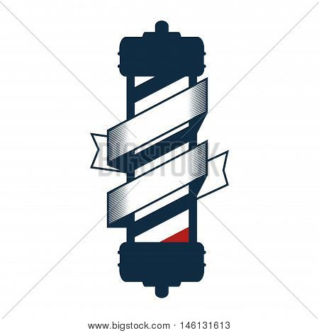 red and blue striped classic barber shop pole with label. vector illustration