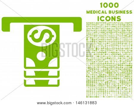 Banknotes Withdraw raster icon with 1000 medical business icons. Set style is flat pictograms, eco green color, white background.