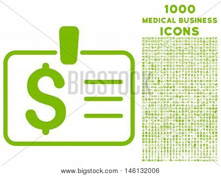 Dollar Badge raster icon with 1000 medical business icons. Set style is flat pictograms, eco green color, white background.