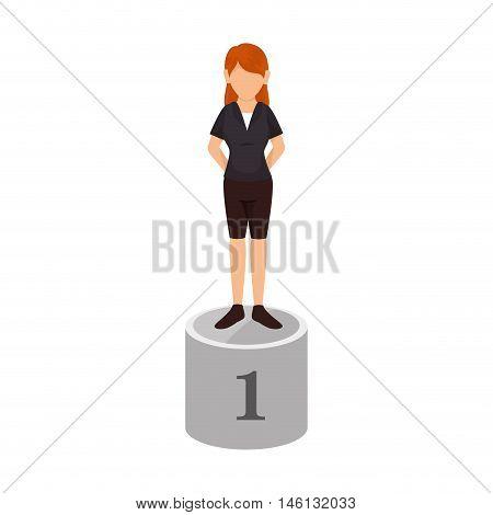 avatar woman on championship pedestal  podium position first place. vector illustration