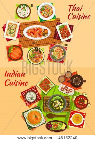 Indian and thai cuisine sign with tomato and meat curries, rice noodles with shrimps, chicken salads, pilaf, sweet pork, nut, meatball and seafood soups, milk balls and fruit salad