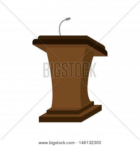 speech communication podium wooden pedestal with microphone. vector illustration