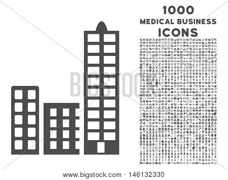 City raster icon with 1000 medical business icons. Set style is flat pictograms, gray color, white background.