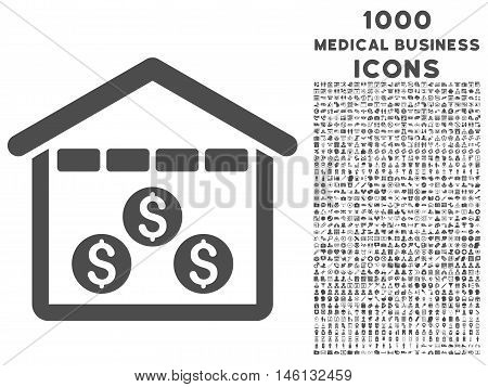 Money Depository raster icon with 1000 medical business icons. Set style is flat pictograms, gray color, white background.