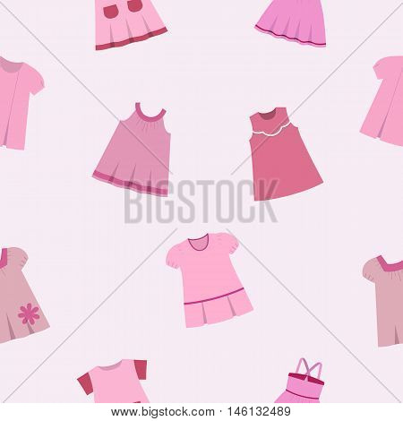 Seamless pattern with fashionable children's dresses on gray-pink background. Collection cute clothes for baby girls. Vector illustration.