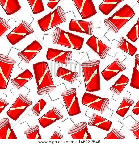Fast food sweet soda drinks background with seamless pattern of takeaway red paper cups of soft beverages with drinking straw. Fast food cafe or food packaging design