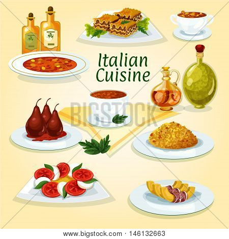 Italian cuisine traditional risotto icon served with lasagna, tomato and mozzarella salad caprese, spicy tomato soup, pasta soup minestrone, pumpkin with bacon, poached pear in red wine, bean soup