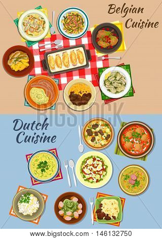 Dutch and belgian cuisine icon of potato with sausages and beef, pea and tomato soups, endive rolls, salmon and potato salads, creamy chicken stew, rabbit with cherries, bitterballen and bean soups