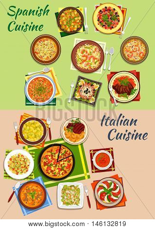 Italian and spanish cuisine pizza and paella icon with pasta, bean and sausage soups, tomato and mozarella salad, seafood noodles, beef steaks, caesar and pasta salads, potato dumplings, tuna salad