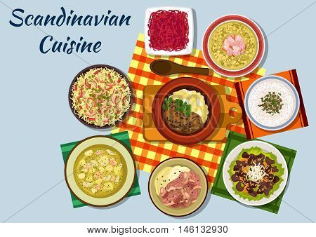 Scandinavian cuisine icon with norwegian beef stew, mushroom cream soup, pike roe sandwich and boiled lamb, dutch pasta and red cabbage salads, swedish salmon cream soup, liver salad and pork pea soup
