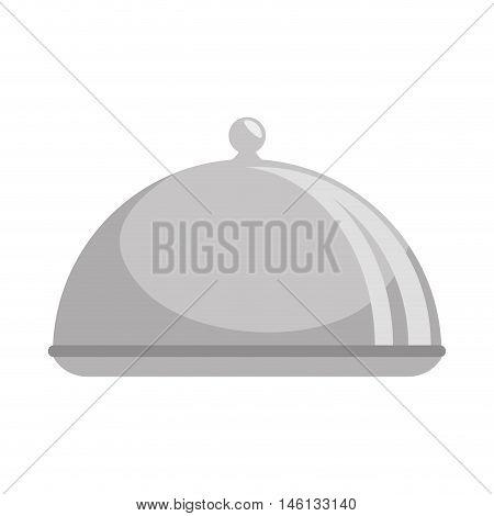 metal platter restaurant. waiter service element. vector illustration
