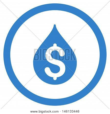 Money Drop glyph rounded icon. Image style is a flat icon symbol inside a circle, cobalt color, white background.
