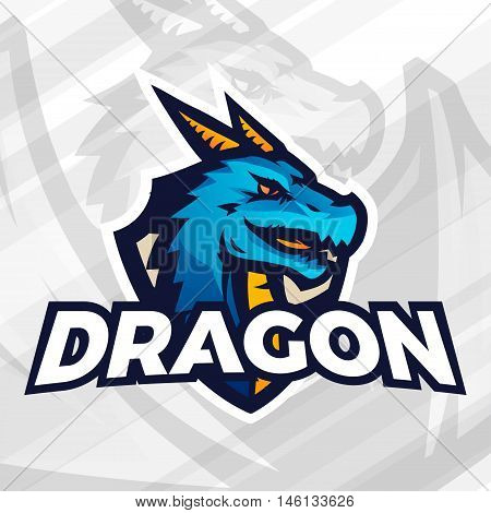 Dragon on shield sport mascot template. Football or baseball patch design. College league insignia, Asian beast sign, School team vector.