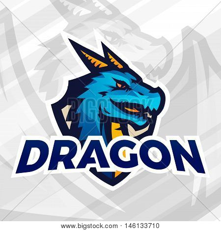 Dragon on shield sport mascot. Football or baseball patch concept. College league insignia, School team vector.