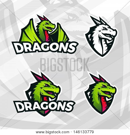 Dragon logo template. Sport mascot design. College league insignia, Asian beast sign, Dragons illustration, School team vector