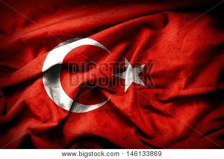 Turkish grunge Flag. A turkish flag with a grunge texture.