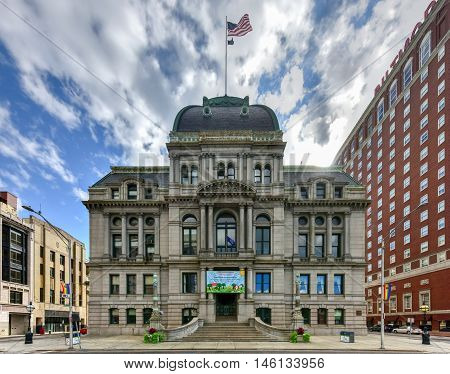 Providence, Rhode Island - August 21, 2016: Providence City Hall is the center of the municipal government in Providence Rhode Island and is located at the southwest end of Kennedy Plaza.