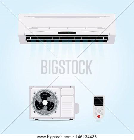 Air conditioner hanging on wall with blowing air and remote controlelectricity flat design vector illustration.