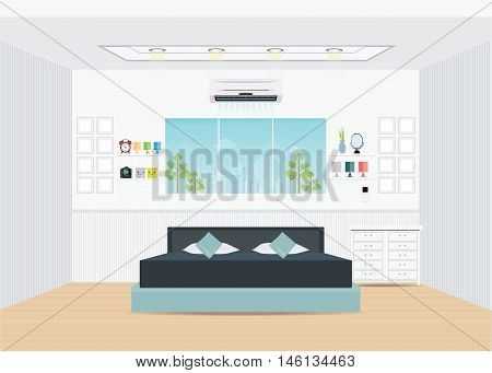 Flat Design Double Bedroom with furniture Bedroom interior conceptual Vector illustration.