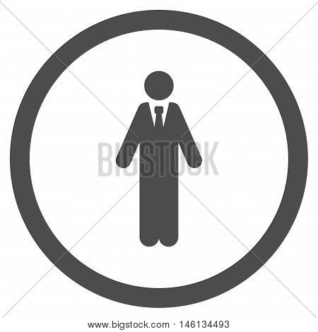 Clerk glyph rounded icon. Image style is a flat icon symbol inside a circle, gray color, white background.