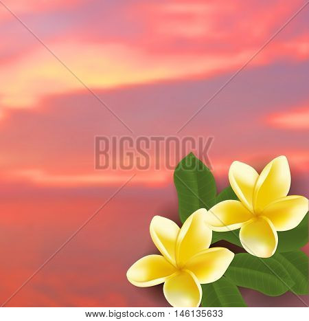 Spa concept with blurred seaside background and realistic frangipani flower. Vector illustration.
