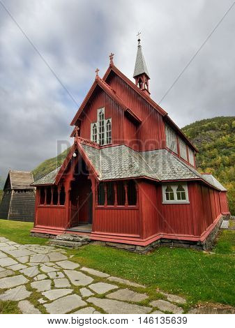 Borgund Stave Church, Norway. The historic wooden building