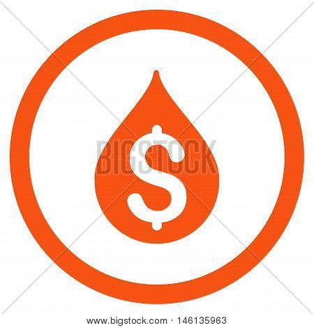 Money Drop glyph rounded icon. Image style is a flat icon symbol inside a circle, orange color, white background.