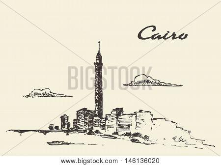 Cairo skyline, Egypt vintage engraved illustration hand drawn sketch