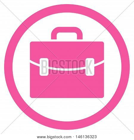 Case glyph rounded icon. Image style is a flat icon symbol inside a circle, pink color, white background.