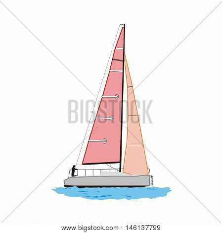 Vector sailing yacht with pink sails isolated on white background
