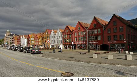 BERGEN, NORWAY - september 7: Norway's most visited tourist attraction Bryggen on September 7, 2015 in Bergen. Bryggen is a row of old Hanseatic commercial buildings and a UNESCO World Heritage site