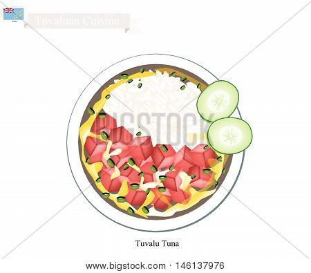 Tuvaluan Cuisine Illustration of Traditional Rice Salad with Tuna and Vegetables. One of The Most Popular Dish in Tuvalu.
