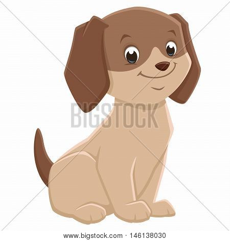 Vector illustration of a brown cute puppy for design element