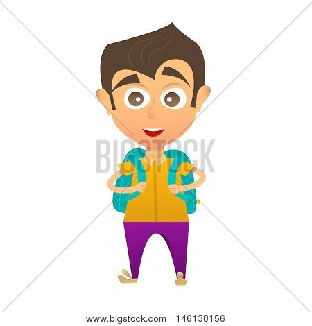 Little boy with a school backpack. Schoolboy. Flat style. Vector illustration