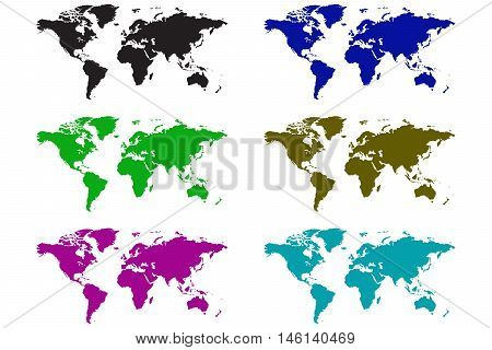earth map icon colour set earth cartography east asia